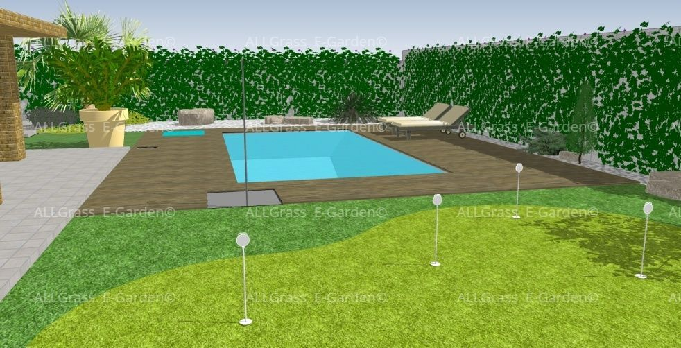 diseño 3D de jardin con putting green